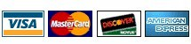 Aceitamos pagamento nos cartes Visa, Mastercard, Discover e American Express